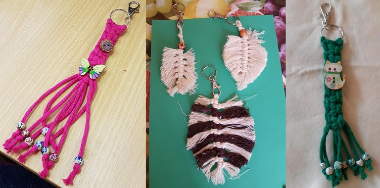 Items made at the Macrame session, each one takes just one session to make, Keenagers